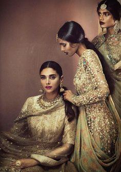 """""""Designer: Sabyasachi Mukherjee Photography: Signe Vilstrup Models: Aditi Rao Hydari, Ravyanshi Mehta & Manvitha Mallela """""""