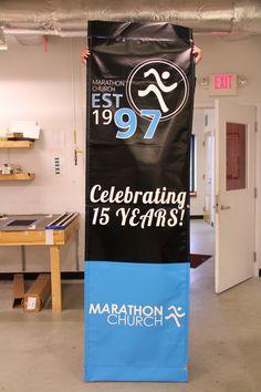 Trade Show Banner Graphic Design For Threshold We Open Doors - Vertical vinyl banners