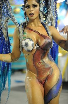 Every day is a nude Carnival day in Rio de Janeiro and Brazil! More nude and sexy Brazilian women: . Carnival Dancers, Carnival Girl, Brazil Carnival, Balle Dance, Dancers Body, Brazilian Women, Woman Painting, Sexy Tattoos, Inked Girls