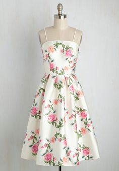 It Only Goes to Showcase Dress - Multi, White, Floral, Print, Daytime Party, Wedding Guest, Sleeveless, Woven, Best, Scoop, Long, Special Occasion, Party, Fit & Flare, Spring, Summer