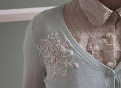 beautiful idea for lace-embellishment on a cardigan. (via http://lavilleinconnue.blogspot.com/2011/06/first-diy.html) #diy #fall #cardigan