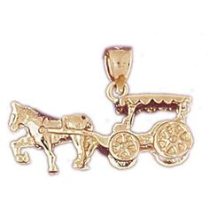 14K GOLD CHARM - CARRIAGE #4335