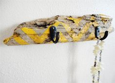 diy: chevron painted driftwood.... (attach hooks for jewelry scarf holder.... dorm beach camping craft