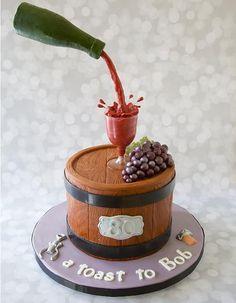 Gravity cake avec un Tonneau et une bouteille de vin rouge / Cake with a Bottle of wine !