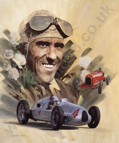 Tazio Nuvolari and Auto Union (illustration by Graham Turner)