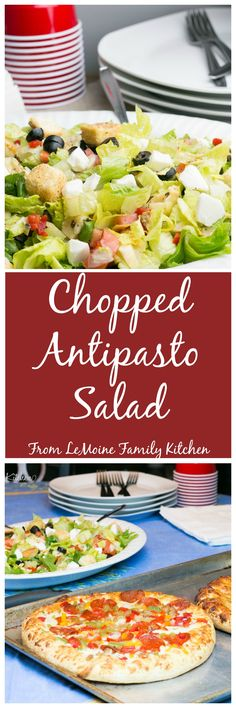 This Chopped Antipasto Salad is so simple to throw together and just the perfect pairing for Freschetta Naturally Rising Pizza. Chopped romaine lettuce, pearl mozzarella balls, artichoke hearts, roasted peppers, tomatoes, black olives, croutons and Italian dressing. What a great dinner any night of the week! #FreschettaFresh {ad}