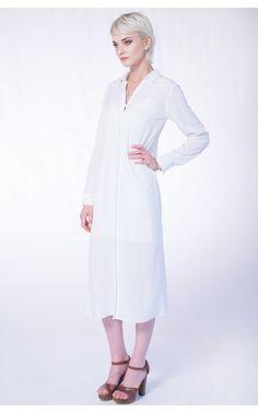 Rochie-camasa alba Minimal Fashion, Rue, Coat, Jackets, Outfits, Down Jackets, Sewing Coat, Suits, Coats