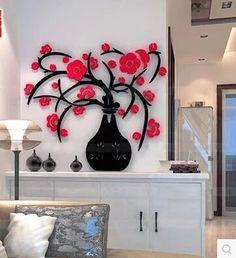 New 3d de acrílico cristal vaso de sala de adesivos de parede do corredor cozinha criativa de decoração adesivos de parede frete grátis alishoppbrasil