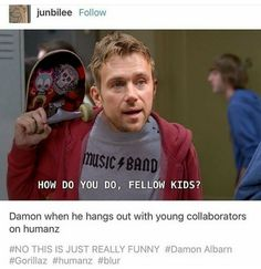 I should be trying to sleep but I'm in the dark laughing at this why Peppermint Tea, Peppermint Patties, Best Memes, Funny Memes, Sunshine In A Bag, Monkeys Band, All Bran, Gorillaz Art, Damon Albarn