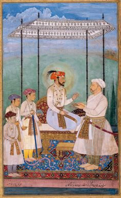 Asaf Khan IV (Grand Vizier of the Mughal Empire) with Shah Jahan and his three sons. Mughal Miniature Paintings, Mughal Paintings, Indian Art Paintings, First Battle Of Panipat, Mughal Empire, Mystery Of History, Indian Artist, Drawing Techniques, British Museum