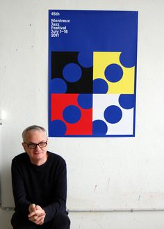 Blue, red, yellow, white and black -- these are the colors chosen by Francis Baudevin for the Montreux Jazz Festival. Montreux Jazz Festival, Jazz Poster, Moleskine, Switzerland, Posters, Image, Poster, Billboard