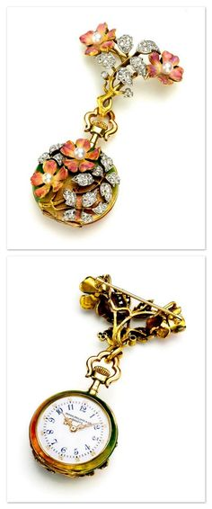 Patek Philippe - a very fine and rare yellow gold, enamel, diamond and pearl-set pendant watch with floral motif and matching brooch - made in 1901.