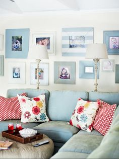 Great gallery wall. Love the striped frame