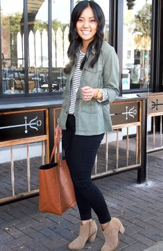 utility jacket  striped tee  black jeans  taupe booties casual fall outfit Casual Fall Outfits, Cute Outfits, Striped Tee, Utility Jacket, Taupe, Black Jeans, Skinny Jeans, Tees, Jackets