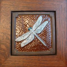 """6"""" Dragonfly tile with chocolate and turquoise glaze by Fay Jones Day Tile. Quarter sawn Oak frame by Family Woodworks LLC"""