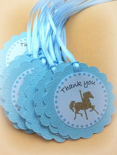 Carousel birthday Baby blue light sky blue favor tags. Cute baby boy birthday or baby shower. Set of 20 Carousel horse by FiestaBella, $20.00