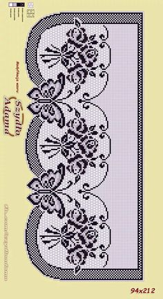 Gardine Filet Crochet, Crochet Borders, Crochet Diagram, Crochet Bear, Crochet Motif, Crochet Doilies, Crochet Stitches, Cross Stitch Borders, Cross Stitch Rose