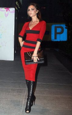 Victoria Beckham in Red-and-Black VB Victoria Beckham, Thigh High Boots, Over The Knee Boots, Estilo Fashion, Ideias Fashion, High Shoes, Long Boots, Red Carpet Looks, Thigh Highs