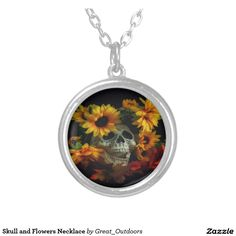 Skull and Flowers Necklace