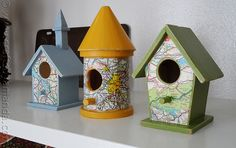Map crafts and map craft ideas for kids, preschoolers and kindergarten. Crafts using maps for adults. DIY map projects for use by teachers and home school teachers. Easy to make crafts using old maps. Map Crafts, Travel Crafts, Arts And Crafts, Wood Crafts, Cool Bird Houses, Decorative Bird Houses, Bird Feeder Plans, Diy Bird Feeder, Birdhouse Craft