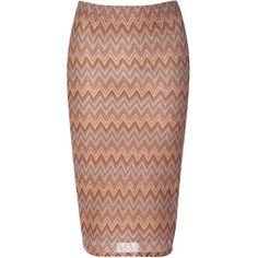 Brown Multi Chevron Print Skirt ($30) ❤ liked on Polyvore featuring skirts, brown, stretch midi skirt, knee length pencil skirt, calf length skirts, chevron pencil skirt and brown skirt