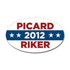 Star Trek Picard Riker 2012 Sticker (Oval) #cafepress