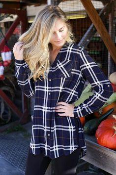 Album Plaid Button Up, Navy – North & Main Clothing Company