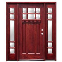 Pacific Entries Craftsman 6 Lite Stained Mahogany Wood Entry Door with Dentil Shelf and 12 in. Sidelites-M36ML412D at The Home Depot