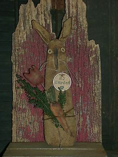 "Primitive Grungy 11"" Bunny Rabbit Stump Doll Carrot Tulip Ro's Cluttered Attic 