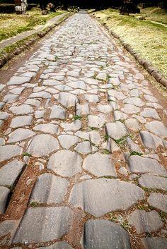 Via Appia    22.4.2011: wheel ruts on the old via Appia, Rome.