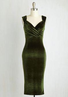 Lady Love Song Dress in Olive Velvet