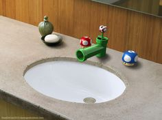 Super Mario Badezimmer Waschbecken Armaturen Super Mario Wastafelkranen Share your vote! Nerd Room, Gamer Room, Nerd Cave, Sink Taps, Bathroom Sink Faucets, Bathroom Fixtures, Hall Bathroom, Basement Bathroom, Super Mario Room