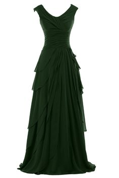 Sunvary Woman A-line Ruffled Chiffon Mother of the Bride Dresses Bridesmaid Dresses Prom Gowns for Evening Party Long US Size 6- Dark Green