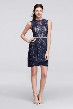 A crystal-embellished waist makes this short lace dress incredibly flattering, not to mention fun.  By City Triangles  Nylon, cotton, polyester  Back zipper; fully lined  Professional spot clean  Impo