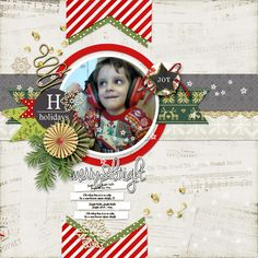 """Digital Scrapbook Inspirational Layout for Christmas made with """"A Little Sparkle"""" kit on Sahin Designs, Layout by Marina"""
