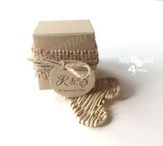 25 Pack of Favor Box Rustic_Burlap Cube Box Custom/Personalized Wedding Favor_ Favor Box Kraft_ Including 25 Tags_ All colors Mark 4, 24 September, Personalized Wedding Favors, Favor Boxes, All The Colors, Cube, Burlap, Packing, Place Card Holders
