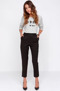 Trouser We Go Black High-Waisted Pants at Lulus.com!