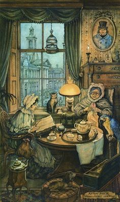 """Tea Time"" - Illustration by Anton Franciscus Pieck (Dutch, 1895 – 1987)"