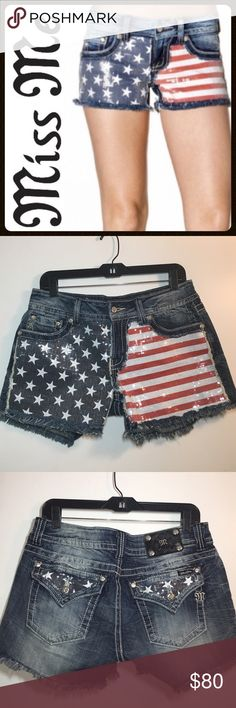 "🇺🇸 NWT Miss Me American Flag Shorts 🇺🇸 Just in time for July 4th festivities!!! These beautiful sequin shorts are BRAND NEW WITH TAGS! ✔️Dark Blue Denim ✔️Inseam: Approx. 3.75"" ✔️Cotton/Spandex Blend ✔️Waist Laying Flat: 16.5"" Miss Me Shorts"