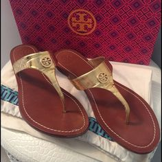 Tory Burch Gold Cameron Thong Gold Croc Pattern.  Worn only once.  Includes Box & Dust Bag.  Size 10 fits true to size.  Very sexy, great with anything!  Just slip them on and go!  Authentic!  Box has a little tear in one corner.  Price is Firm. Tory Burch Shoes Sandals