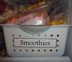 Freezer Smoothies - Put all ingredients in Ziplocs ahead of time, add milk or juice in the morning, throw it all in the blender, and.... Voila! Breakfast on-the-go!