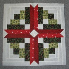 Just Ramblin' Christmas Sewing - such a pretty block Christmas Blocks, Christmas Sewing, Christmas Projects, Christmas Quilting, Halloween Projects, Log Cabin Quilts, Barn Quilts, Scrappy Quilts, Mini Quilts