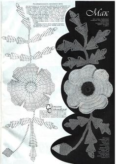 Crochet poppy- flower & leaves