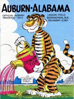 The Aubie Archives—The Art of Phil Neel: 1961 Auburn Football Programs Alabama College Football, Clemson Football, American Sports, American Football, Football Memorabilia, Football Posters, Alabama Athletics, Tiger Face, Football Program