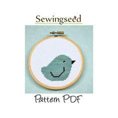 Aqua Bird Cross Stitch Pattern, INSTANT DOWNLOAD