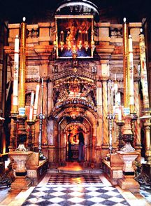 Sacred Places: Holy Sepulchre, Israel. At the place where Jesus was crucified, there was a garden, and in the garden a new tomb, in which no one had ever been laid (John 19,41).