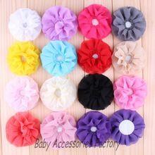 ( 120 unids/lote ) 4 '' Top de encaje de gasa de flores para el cabello alta calidad piedra adhesiva de tela Hallow Out flores para DIY Headwear(China (Mainland))