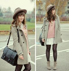 Beige, pink and dots.  (by Maddy C) http://lookbook.nu/look/4279871-Beige-pink-and-dots