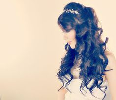 Quinceanera Hairstyles For Long Hair With Tiara And Curls hair styles ...