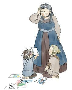 Dis and her artist sons, Fili and Kili